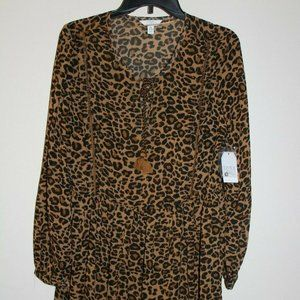 Time and Tru Peasant Dress Long Sleeve Leopard